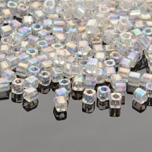 Koraliki TOHO Cube 3mm 10g #161 Transparent-Rainbow Crystal